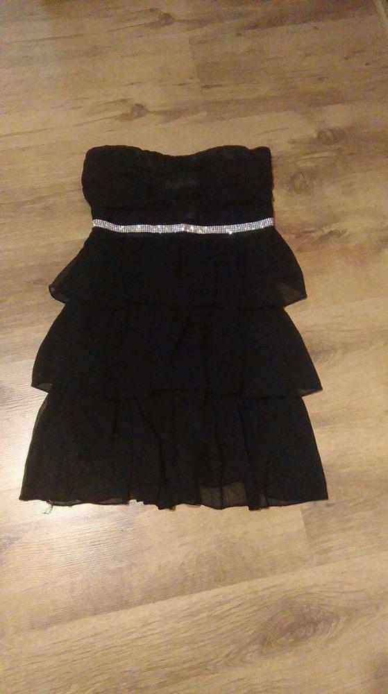 Czarna balowa sukienka mini bez ramiączek S M