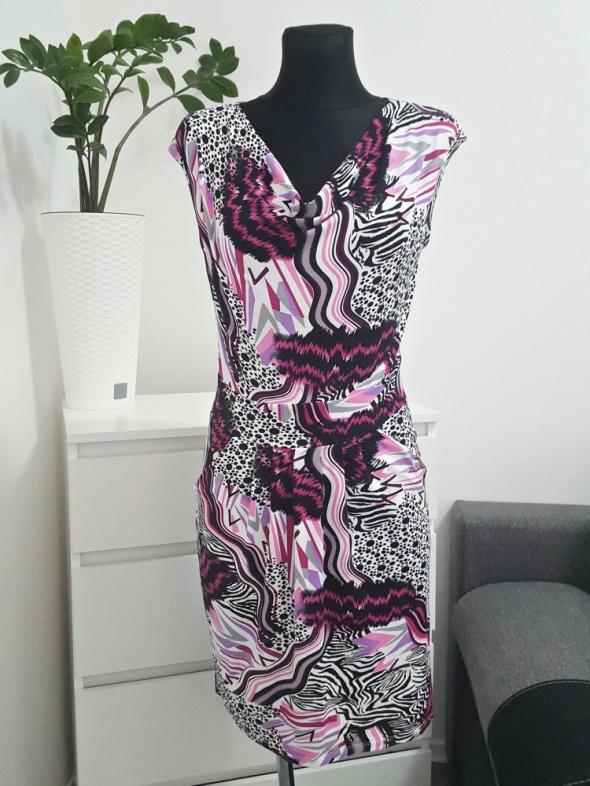 kolorowa sukienka z kieszeniami Lental