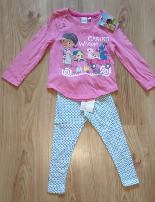 Niebieskie getry i różowa bluzka z długim rękawem Doktor Dosia 86 92