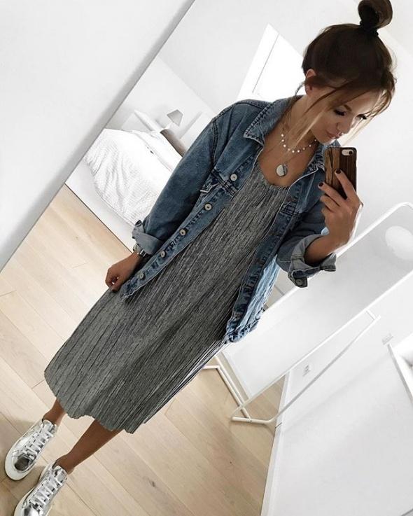 Nowa szara sukienka z rozcięciami Mango XS