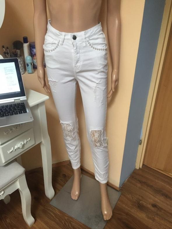 Nowe białe spodnie wysoki stan koronka XS