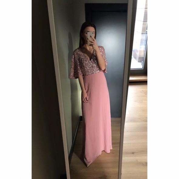 Maxi długa sukienka róż bogate zdobienie cekiny ślub studniówka...