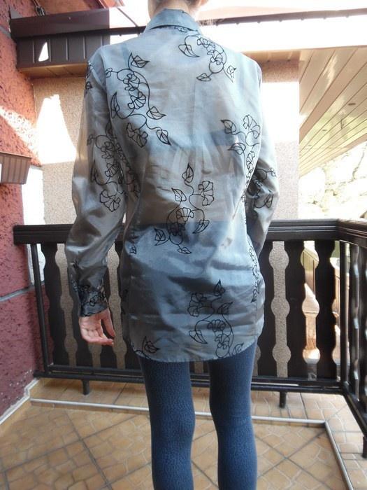 Bluzka szara w czarne kwiaty długi rękaw 44 46 z metki APART...