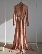 sukienka DŁUGA pudrowa KROPKI 34 XS...