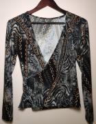 Elegancka bluzka czarna z szarym oraz złotymi łańcuchami...