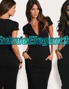 Czarna Sukienka Ołówkowa Elegancka XS 34
