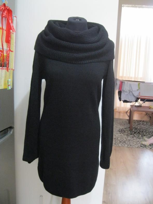 sukienka tunika duży golf H&M czarna M sweter