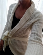 Sweter biały kremowy kardigan wełniany M L...
