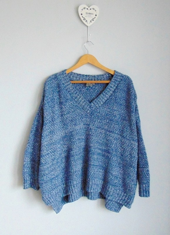 ASOS duży sweter oversize V neck melanż 36...