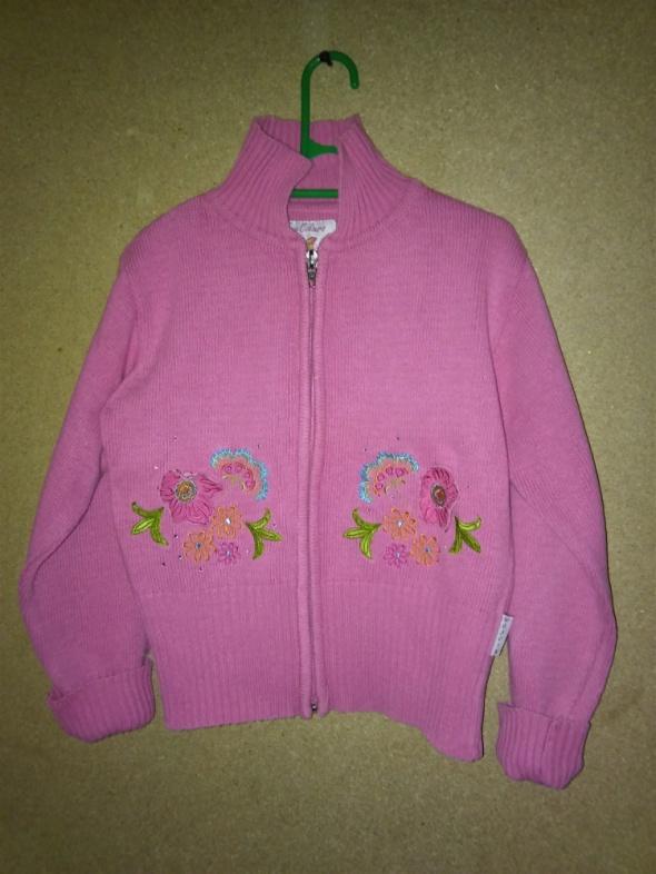Różowy rozsuwany sweterek bez kaptura 140 cm