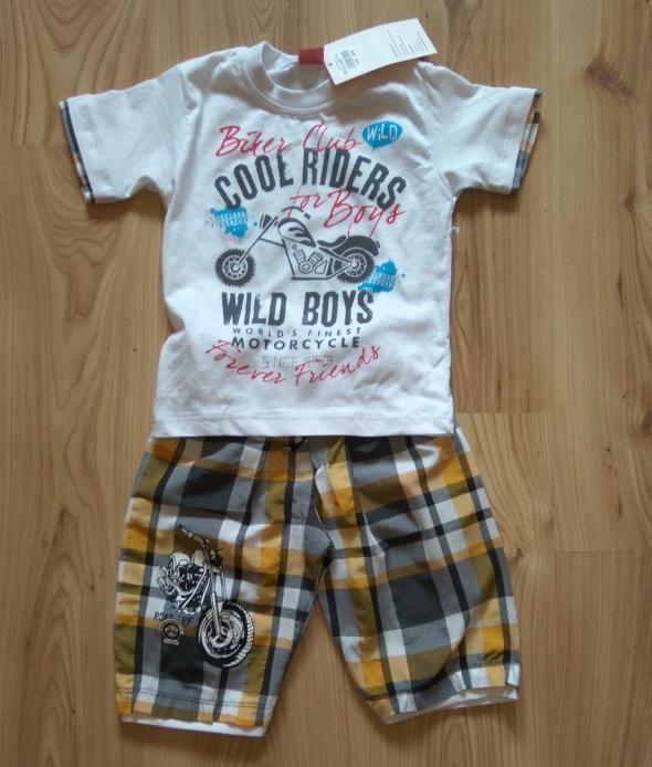 Koszulka i spodenki w kratkę komplecik chłopięcy 1