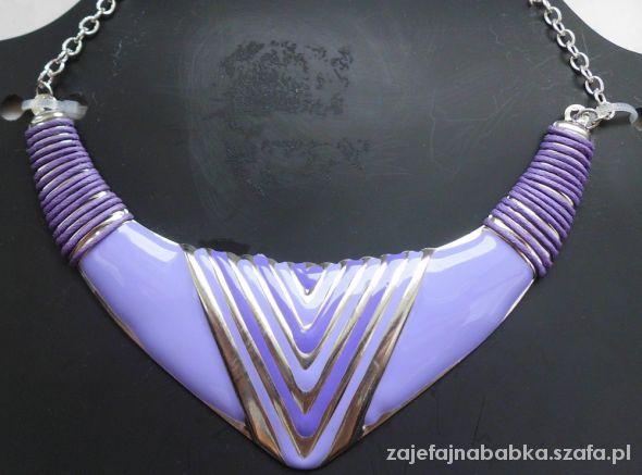 Fioletowy naszyjnik na łańcuszku
