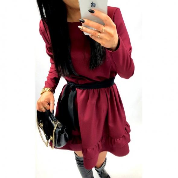 Śliczna sukienka bordowa M L