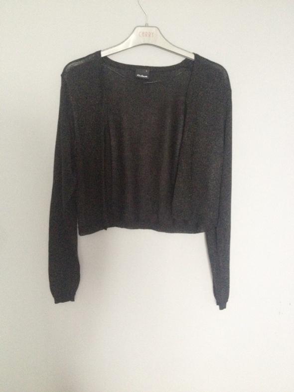 czarne srebrne bolerko narzutka kardigan sweterek...