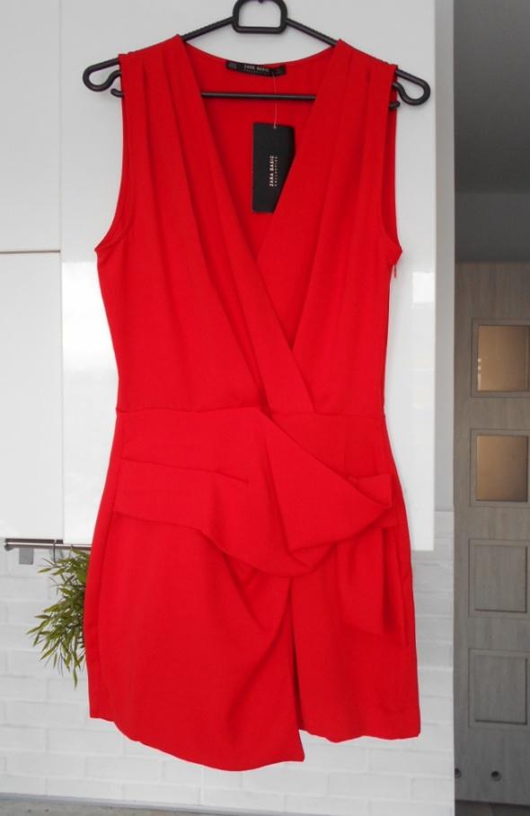 Zara nowy czerwony kombinezon elegancki dekolt na zakładkę origami