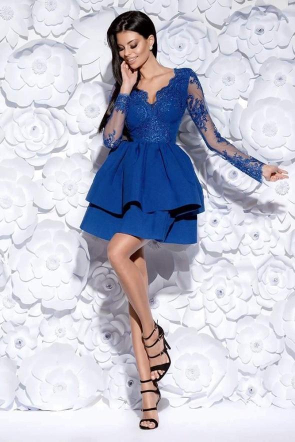 Sukienka kobalt koronka jak lou