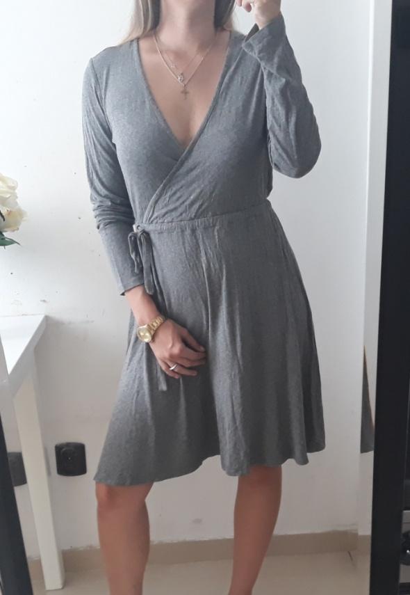 H&M Basic sukienka szary melanż przekładany dekolt L