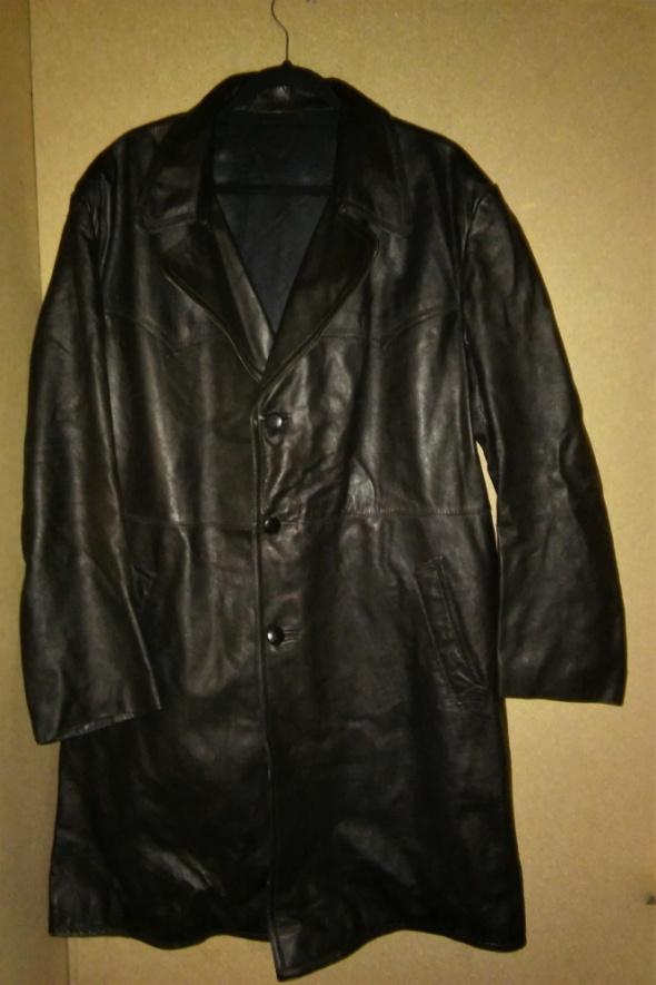Czarny skórzany motocyklowy płaszcz 50 52