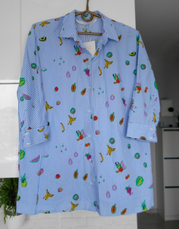 Zara nowa koszula oversize paski owoce nadruk