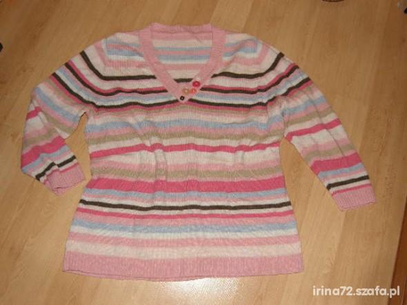 NEXT sweter w kolorowe paski dla puszystej 46 48