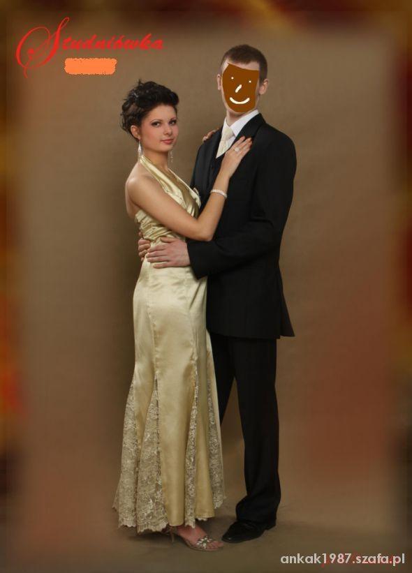 Długa sukienka złota maxi koronka