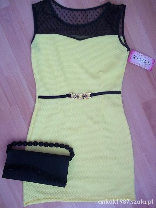 Sukienka pikowana Żółta Cytrynowa Wesele 36 S