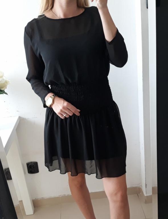 Sukienka czarna koszulowa ściągacz talia M