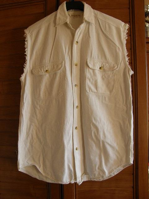 Biały jeansowy bezrękawnik dla puszystej 46