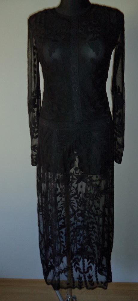 sukienka przezroczysta wyszywana haftowana długa...