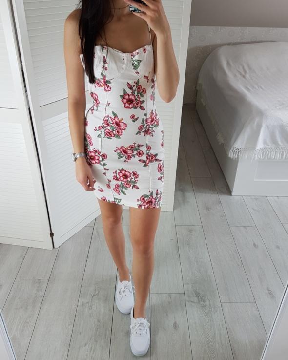 3e0101b2e5 Hm S 36 Biała Dżinsowa Jeansowa Sukienka Dopasowana W Kwiaty Letnia