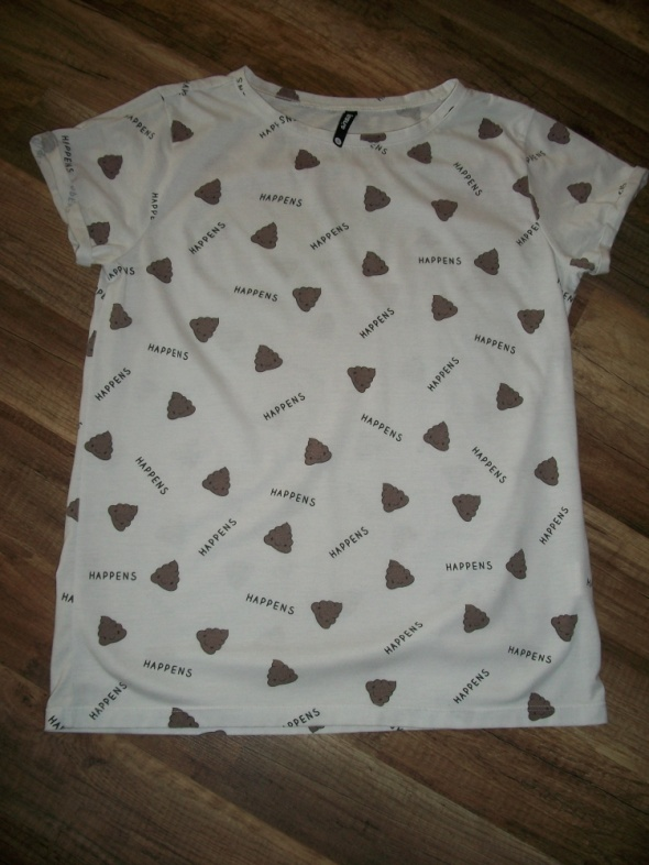 Tshirt biały z nadrukiem Sinsay S modna