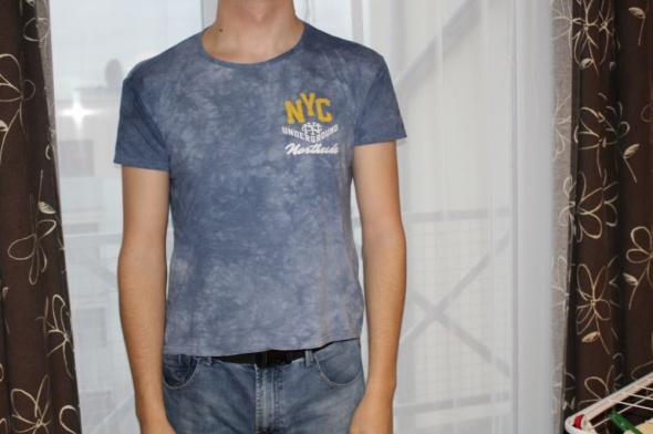Tshirt męski XL marmurkowy niebieski modny