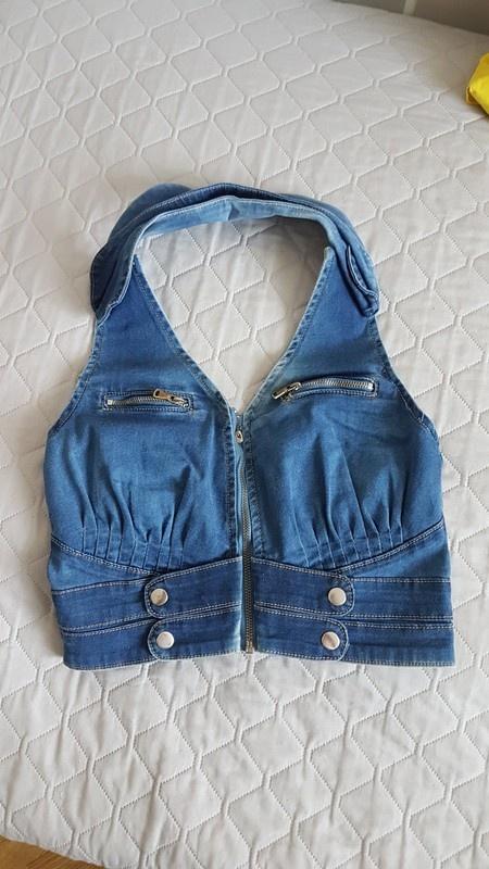 Kamizelka jeans zip bawełna