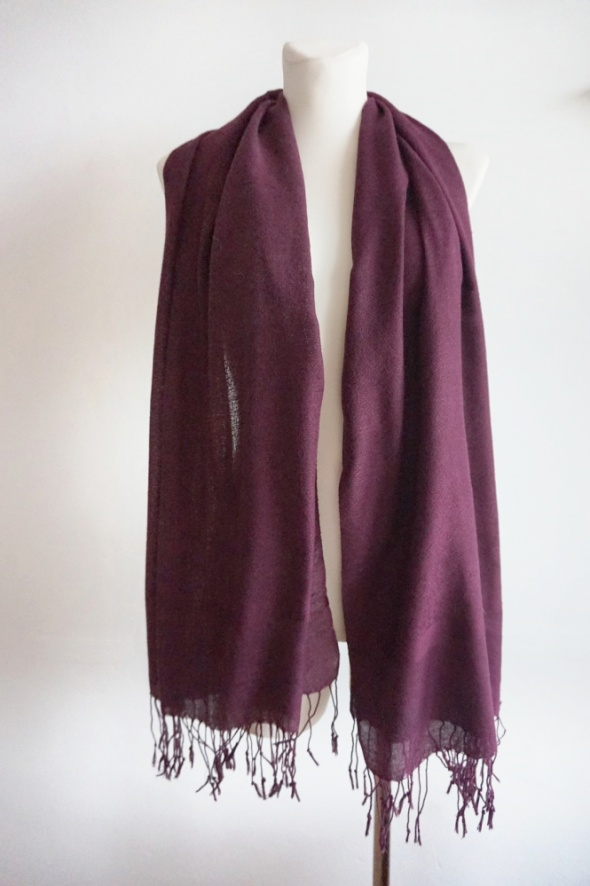 Pashmina szal haft frędzle fioletowy śliwka