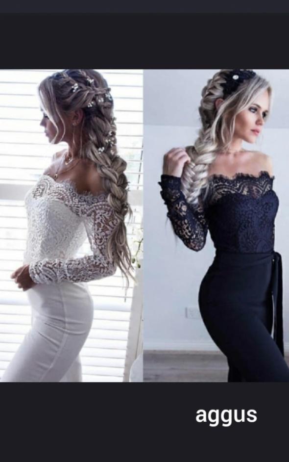 elegancki kombinezon koronkowy biały i czarny...