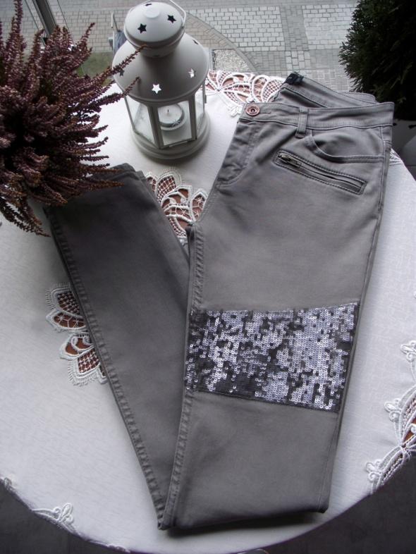 Spodnie jeansy damskie khaki zdobione cekinami Liebeskind Berlin S M