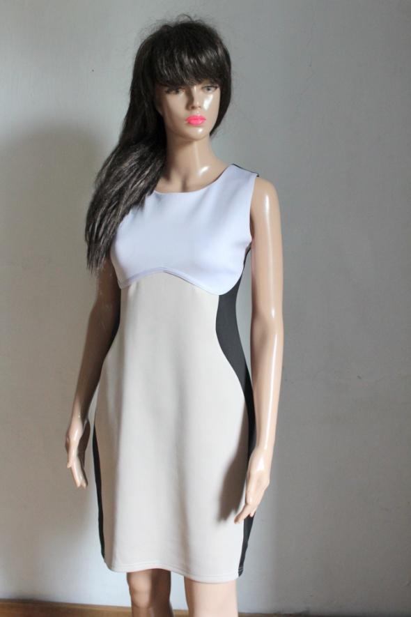 Koktajlowa sukienka czarno beżowa r L XL
