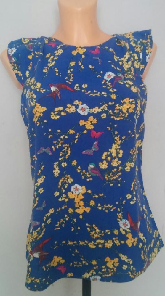 Bluzki Bluzka kwiaty koszula niebieska S
