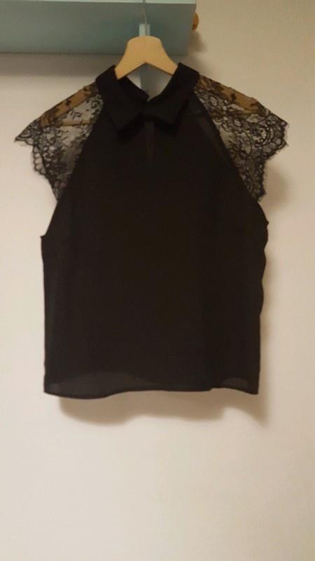 Elegancka bluzka z koronką i łezką na plecach SHEIN L