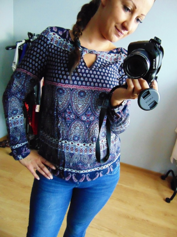 Granatowa bluzka elegancka 36 S Orsay