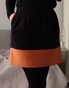 Spódnica czarna z pomarańczowym dołem reserved xs...