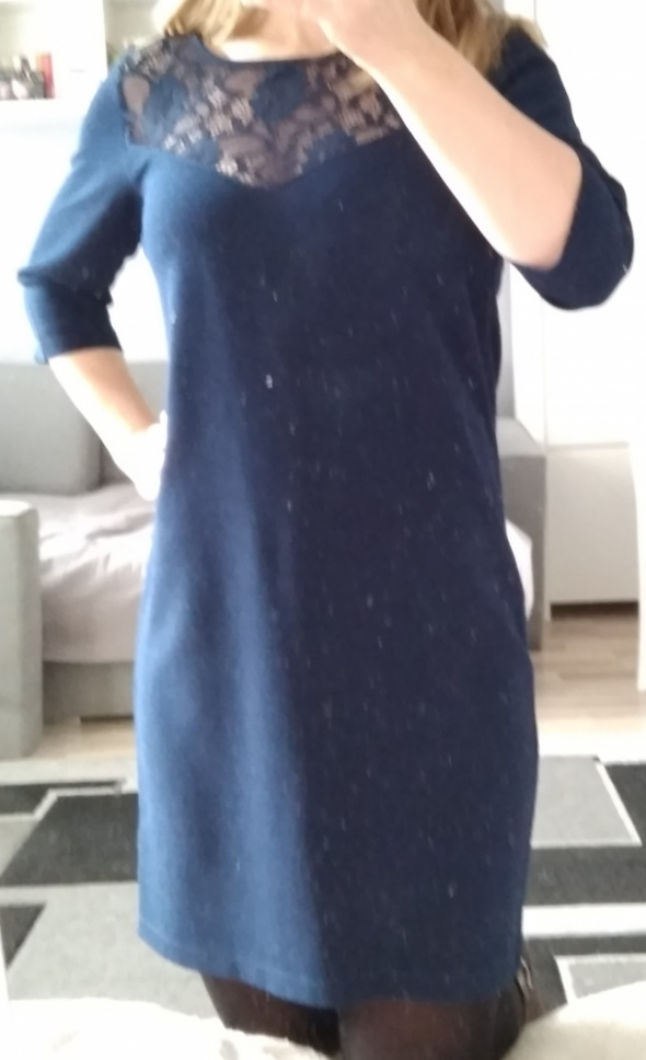 Granatowa koronka sukienka xs house