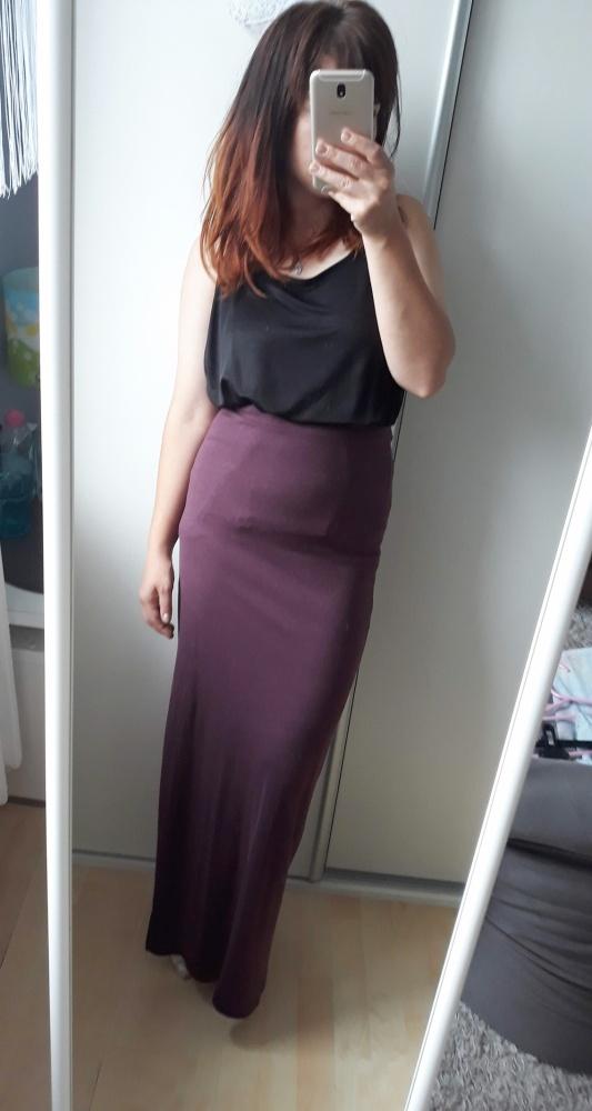 Spódnice Burgundowa maxi długa spódnica