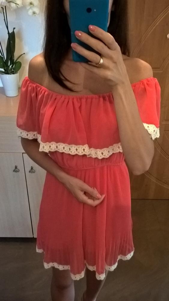 3656a9d0ca Malinowa sukienka hiszpanka z koronką S M w Suknie i sukienki - Szafa.pl