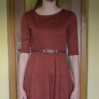 Brązowa elegancka sukienka z półrękawem 34 36