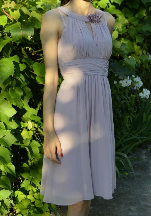 Suknie i sukienki piekna liliowa fioletowa tiulowa sukienka koktailowa wesele 34 36 XS S