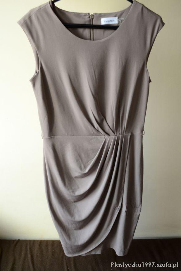 Suknie i sukienki Calvin Klein oliwkowa sukienka