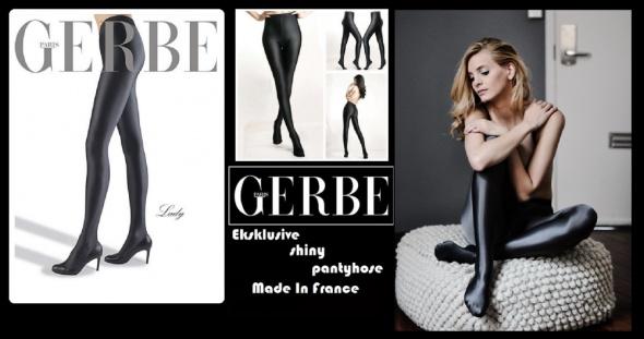 7b3f116099fb42 GERBE Paris Lady ekskluzywne satynowe rajstopy ze szwem kryjące 150 den
