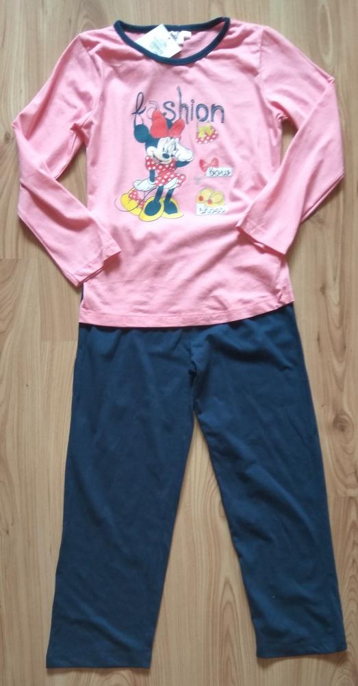 Piżamki Nowa różowa granatowa piżama dziewczęca 128 Minni