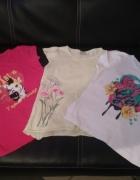 zestaw 110 116 bluzka koszulka różowa zielona biała...